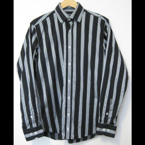 Tailorbyrd Long Sleeve Button Front Striped Shirt
